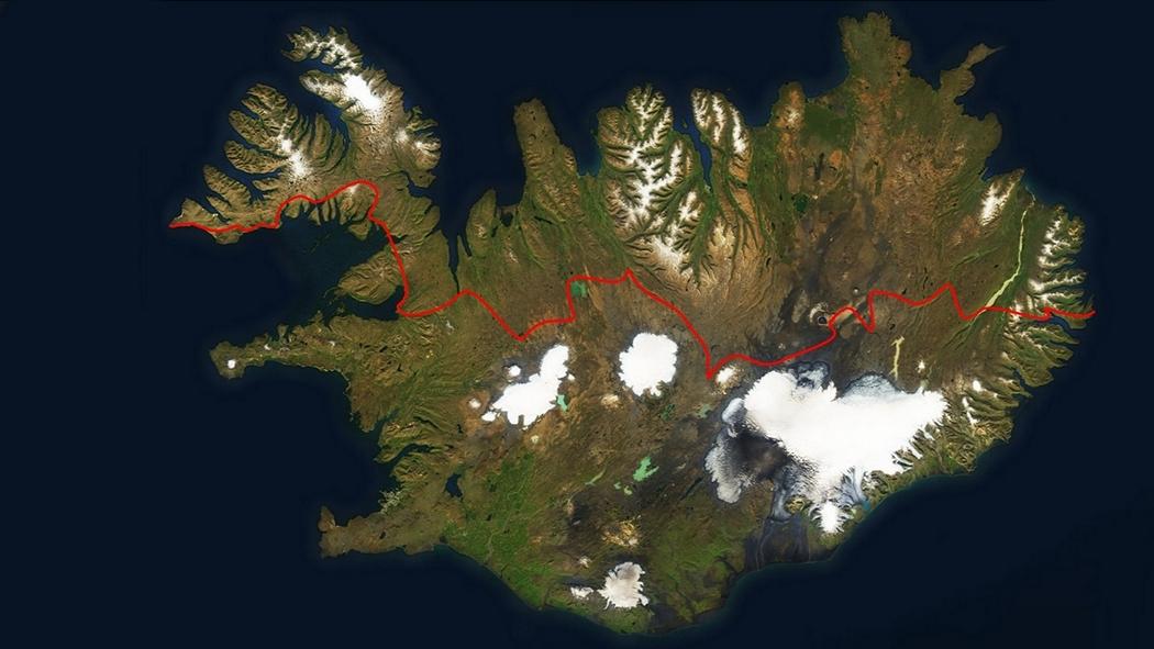 mapa trawers islandii wschod zachod